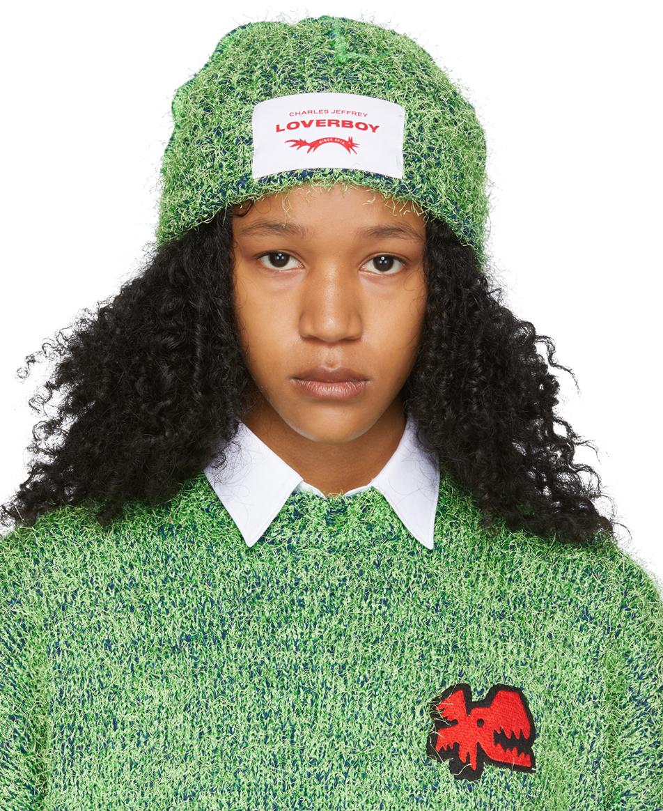 Green Lambswool Textured Beanie