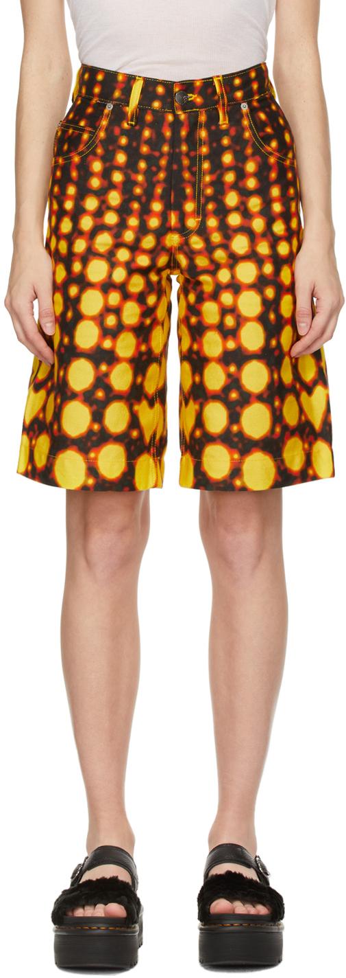 Orange Denim Art Shorts