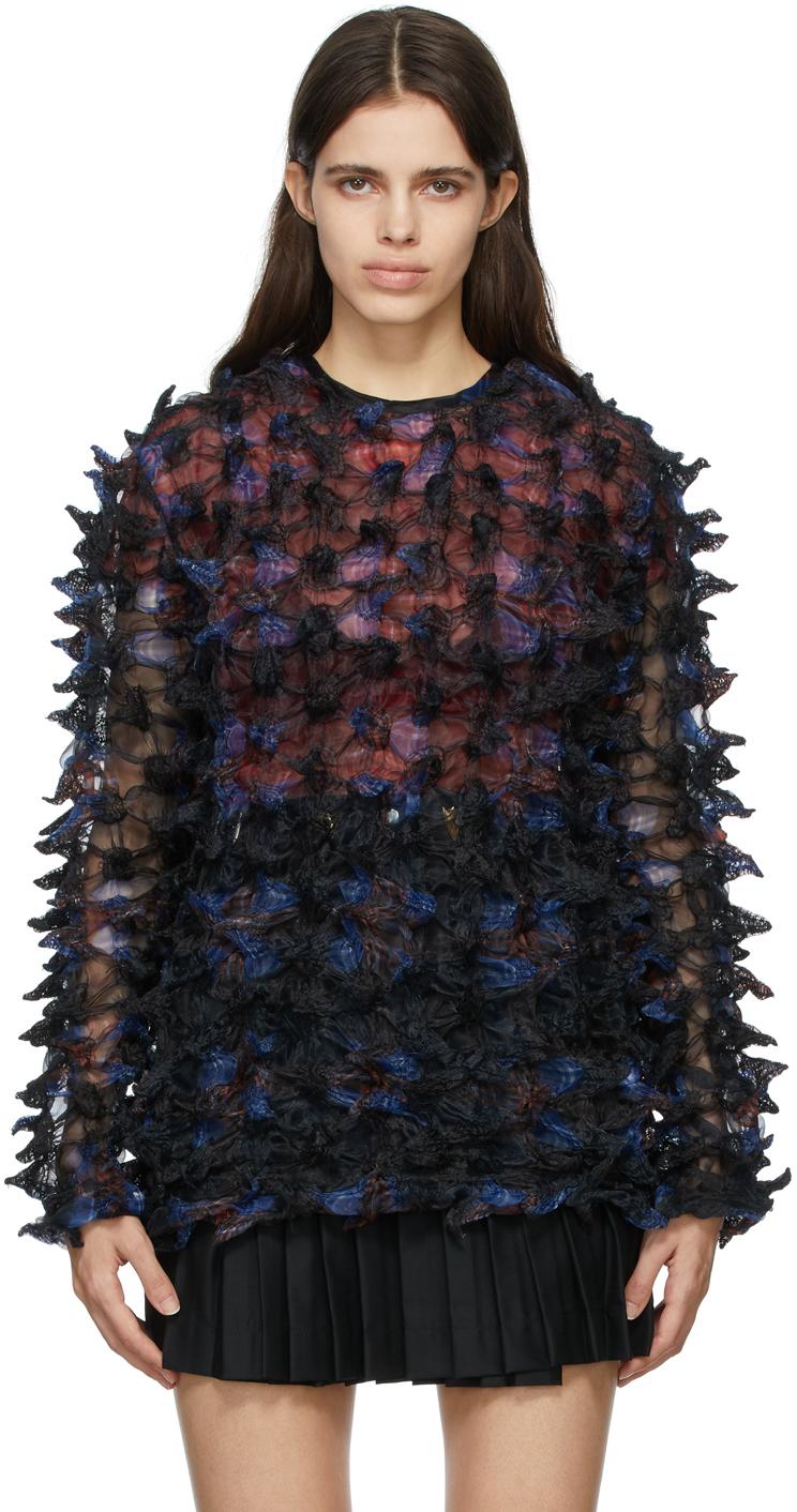Black Organza Spikey Pullover