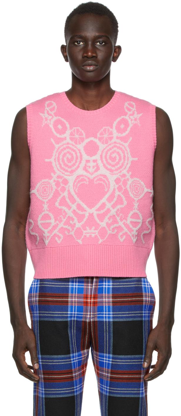 SSENSE Exclusive Pink & White Pict Vest
