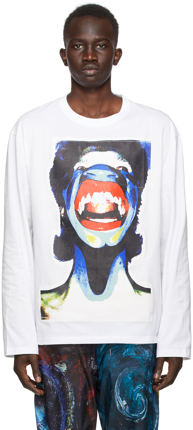 White Scream Long Sleeve T-Shirt