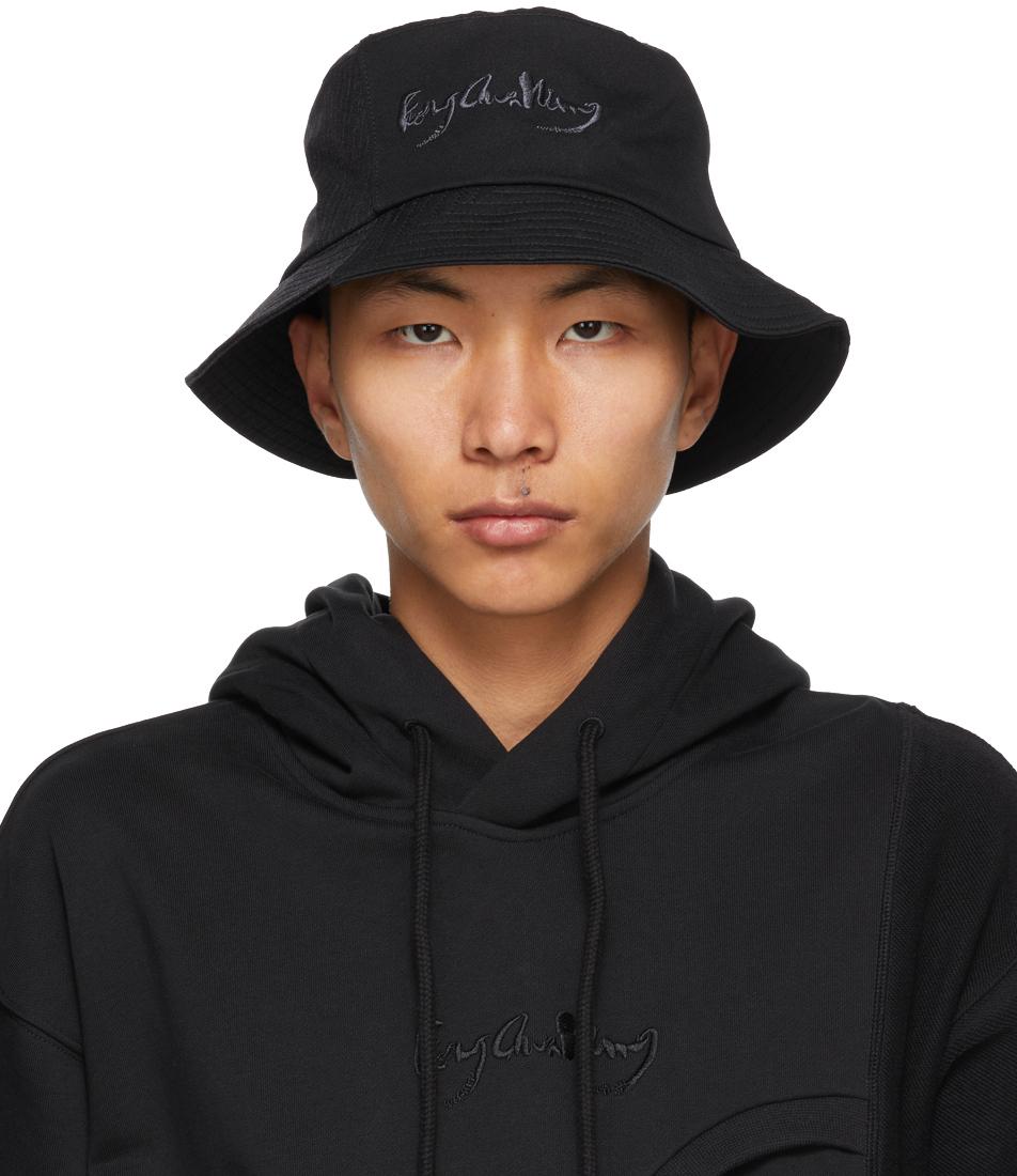 Black & Grey Paneled Bucket Hat