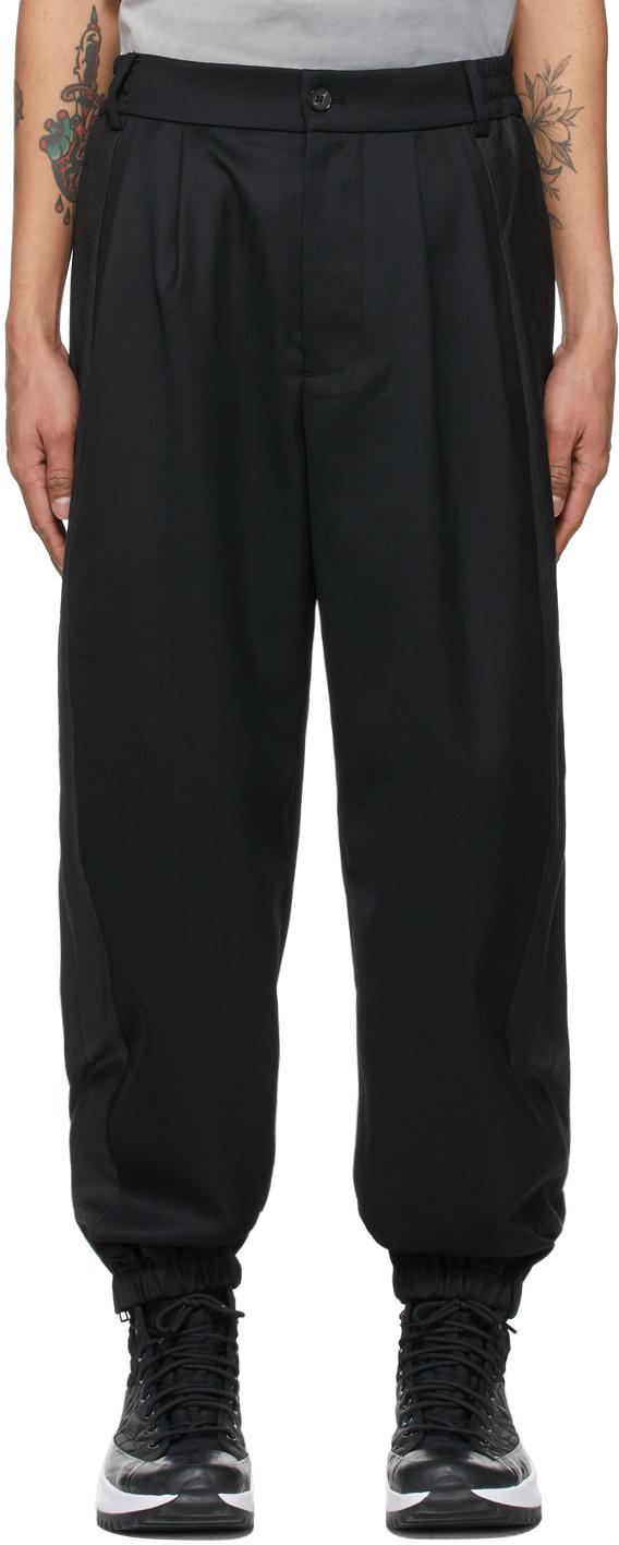 Black Wool Paneled Trousers