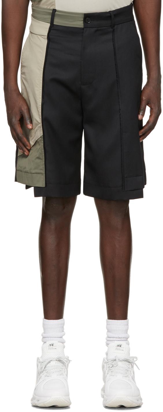 Black Paneled Shorts