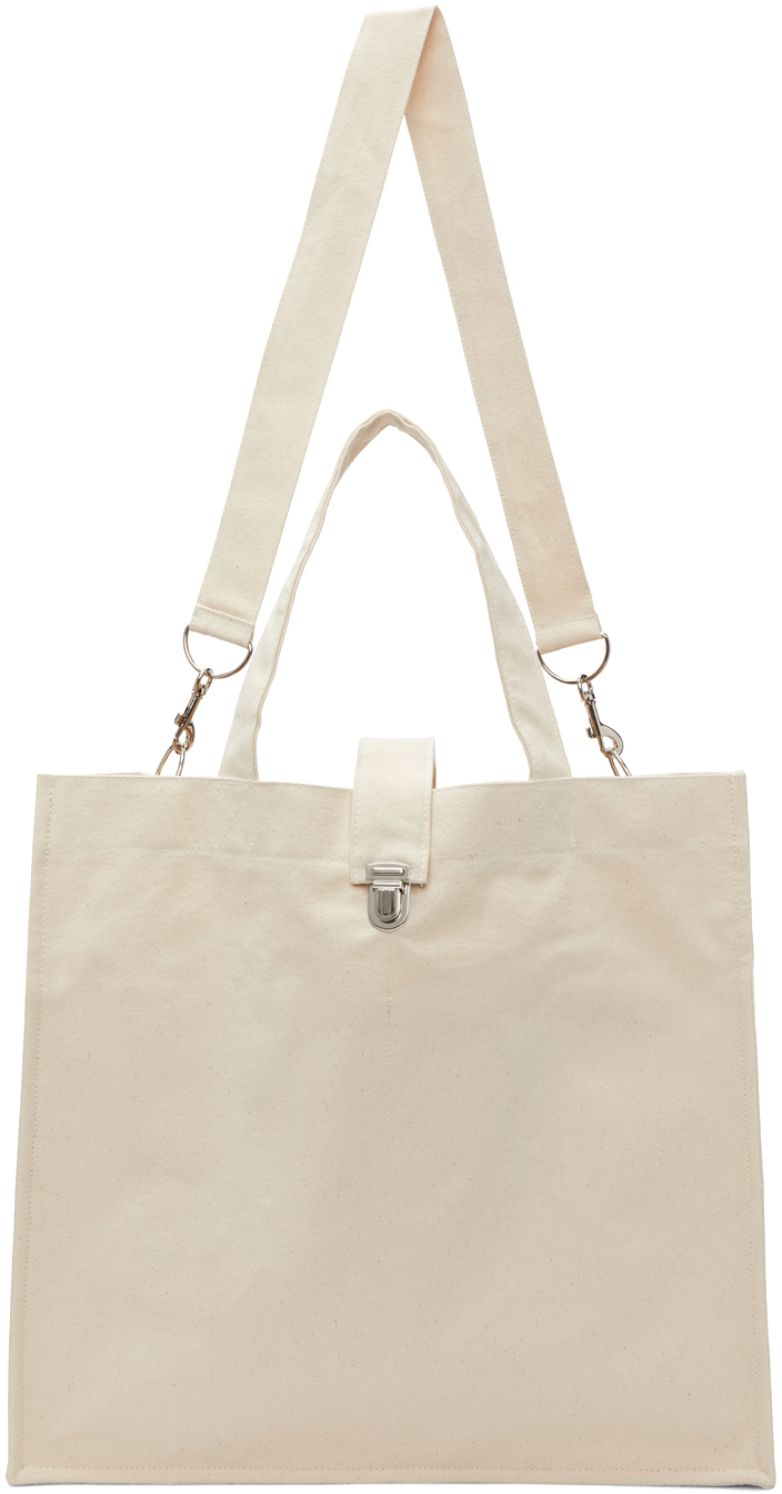 Off-White Canvas Large Shopper Tote