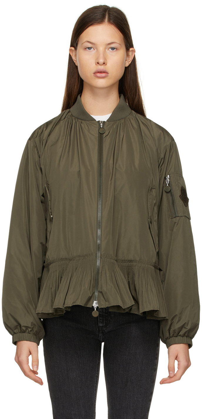 Moncler Khaki Down Mirac Bomber Jacket