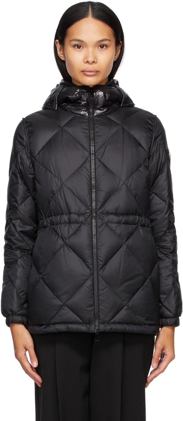 Moncler Black Down Sargas Belted Jacket