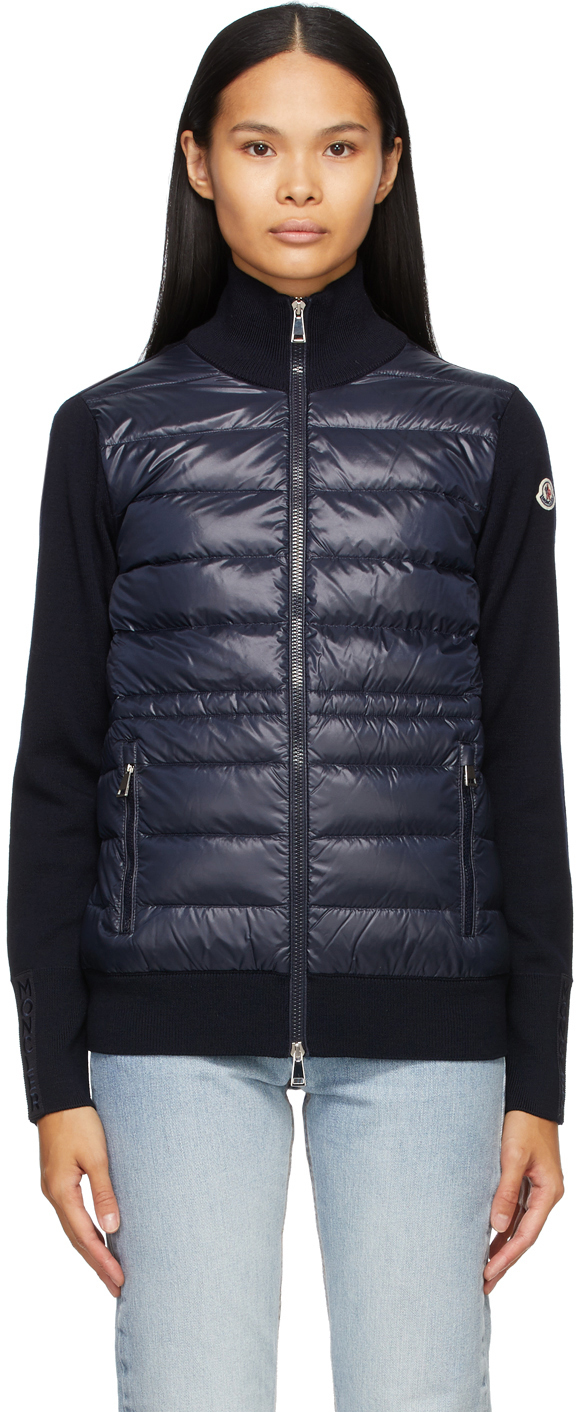 Moncler Navy Down Panelled Zip-Up Jacket