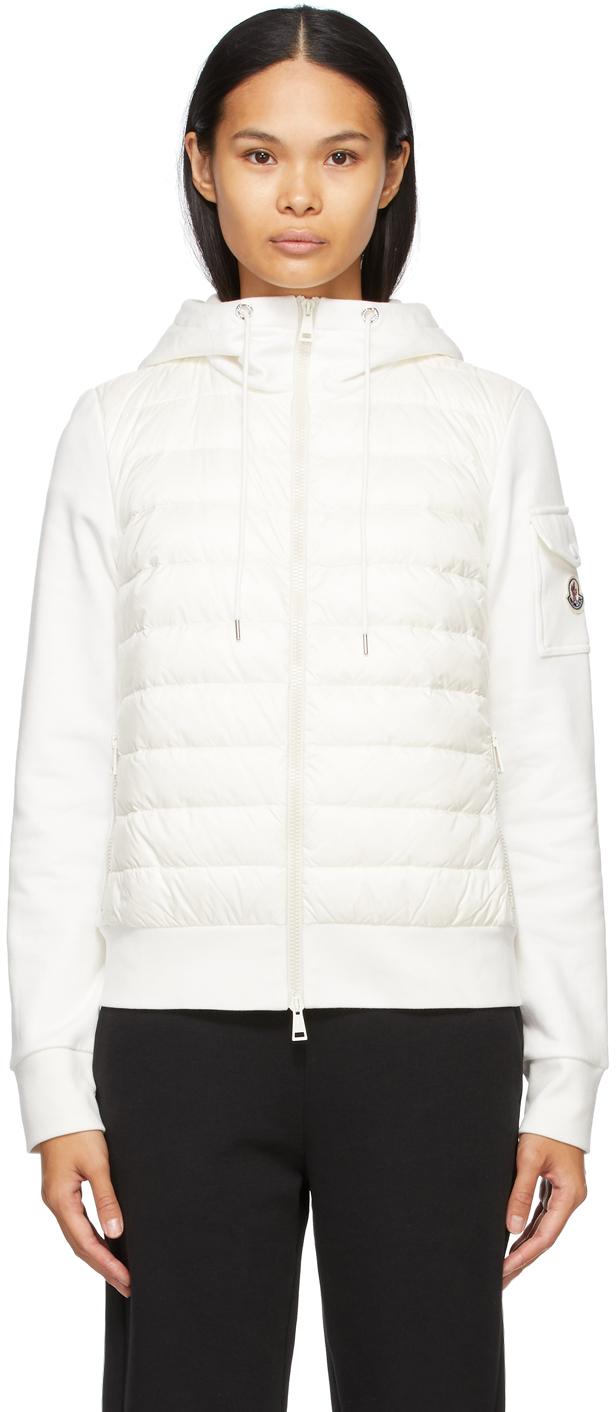 Moncler White Down Jersey Cardigan Jacket