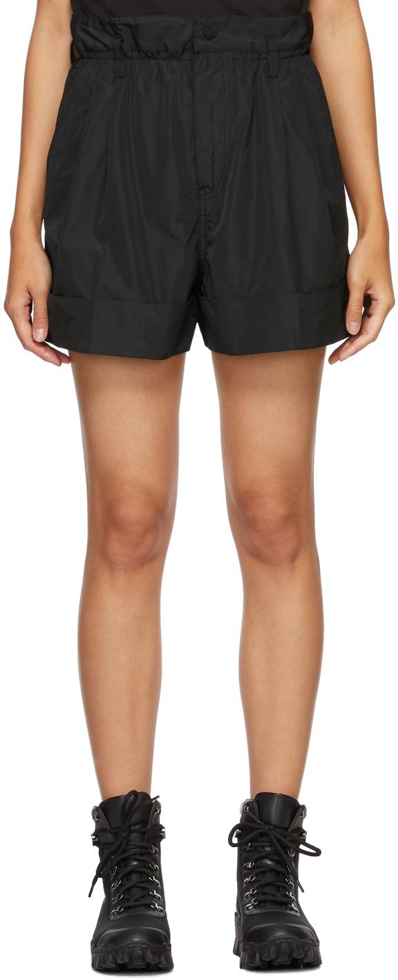 Black Pleated Elastic Waist Shorts