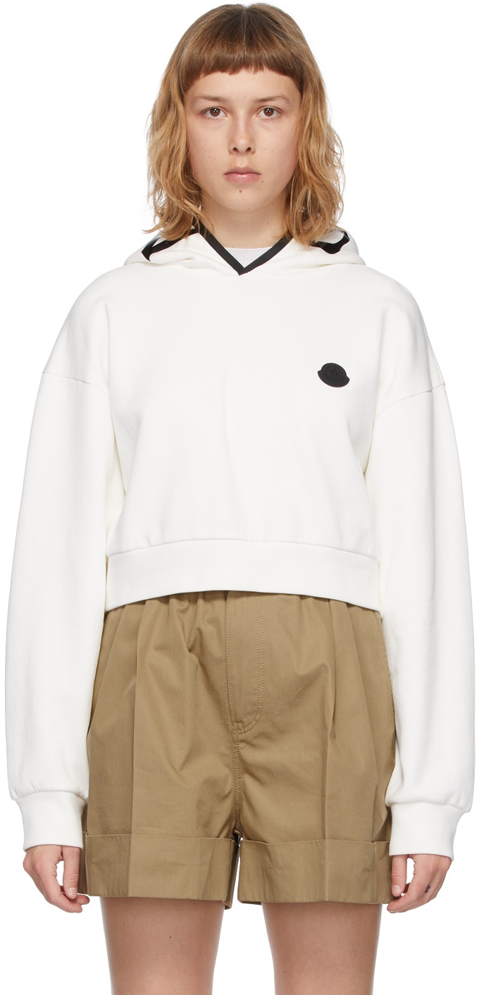Moncler White Cropped Hoodie