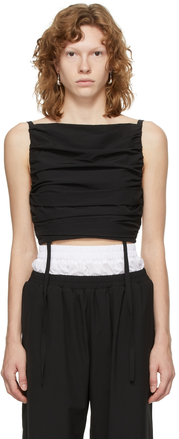 Black Cropped Self-Tie Camisole