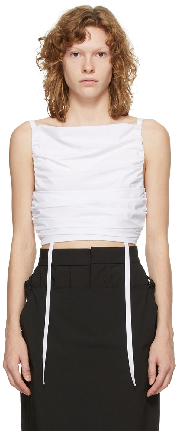 White Cropped Self-Tie Camisole