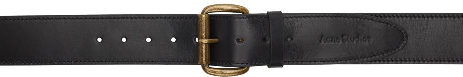 Acne Studios Black Leather Wide Belt 211129F001116