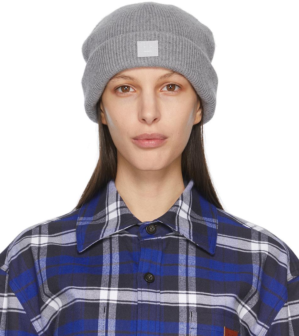Acne Studios Grey Wool Patch Beanie 211129F014014