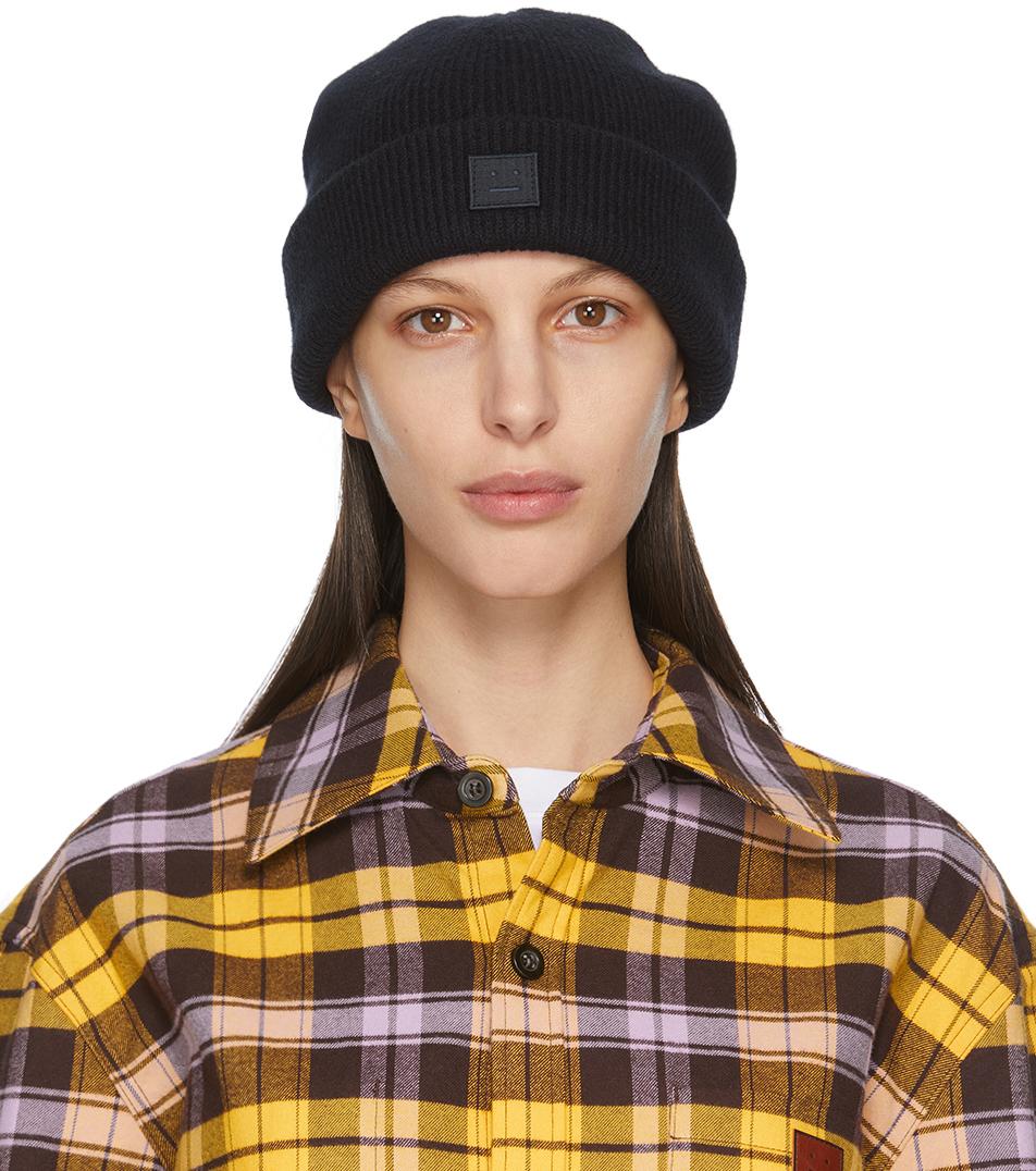 Acne Studios Black Wool Patch Beanie 211129F014015
