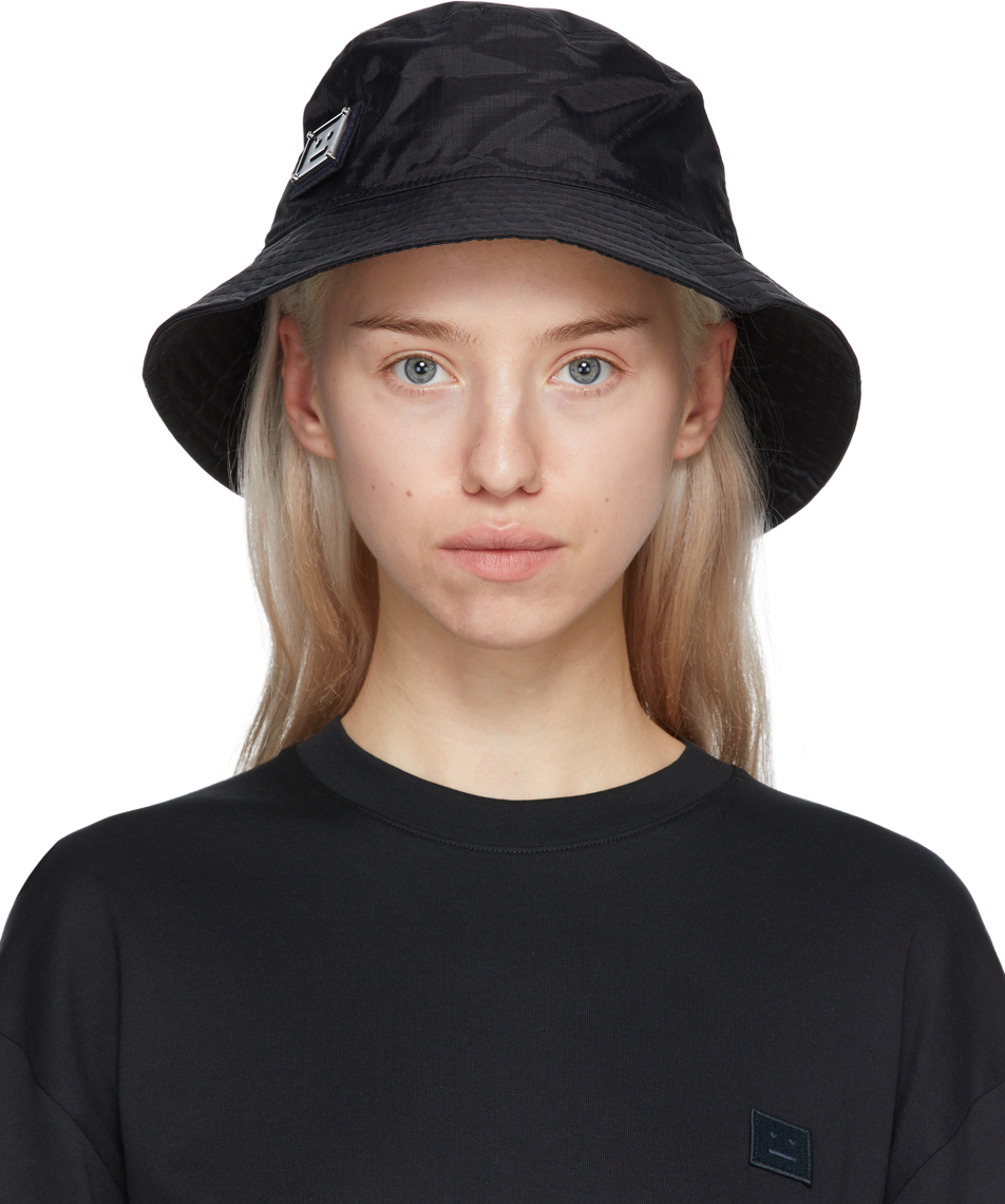 Acne Studios Black Nylon Buko Bucket Hat 211129F015017