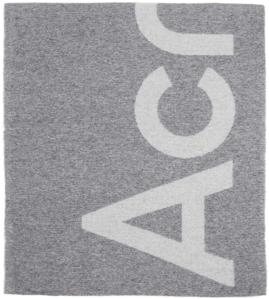 Acne Studios Grey Jacquard Logo Scarf 211129F028022