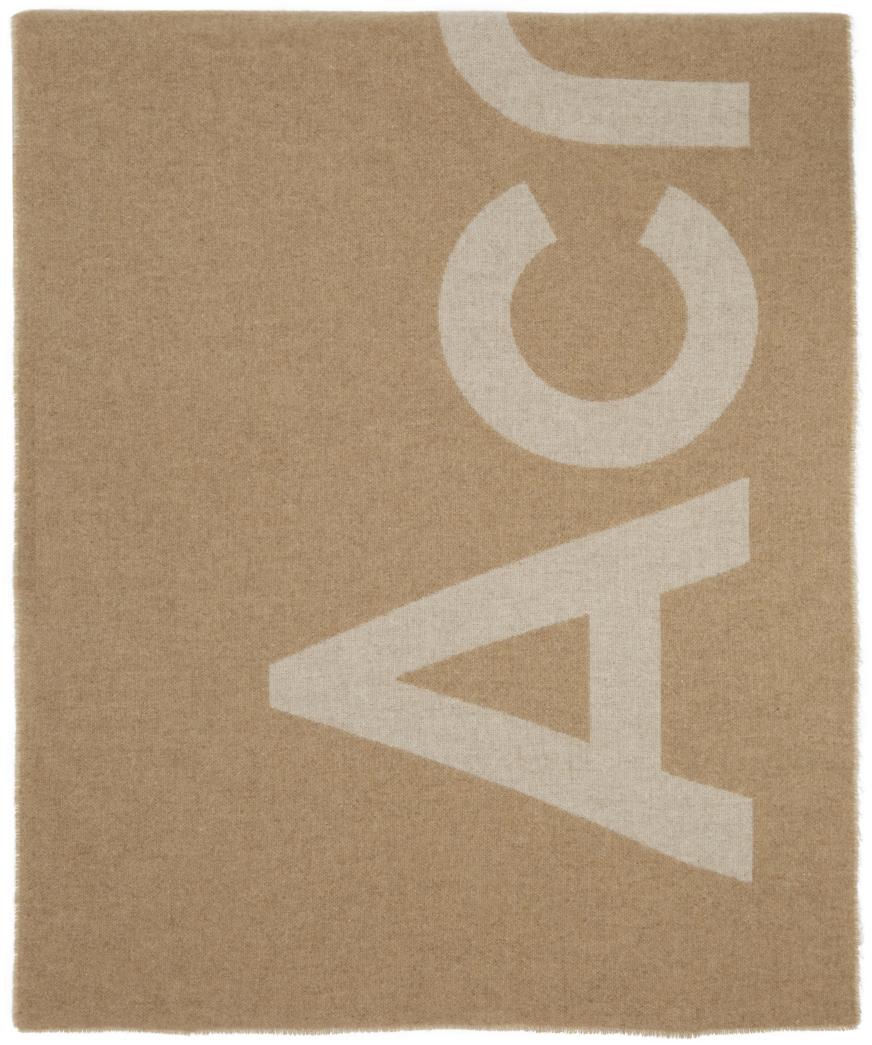 Acne Studios Beige Logo Scarf 211129F028023