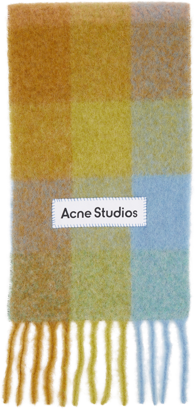Acne Studios Multicolor Alpaca Mohair Large Check Scarf 211129F028031
