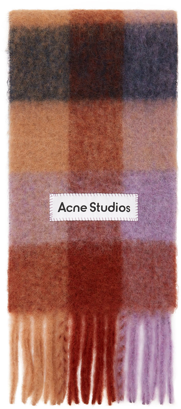 Acne Studios Brown Purple Alpaca Check Scarf 211129F028032