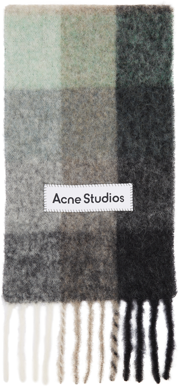 Acne Studios Green Grey Alpaca Mohair Large Check Scarf 211129F028033