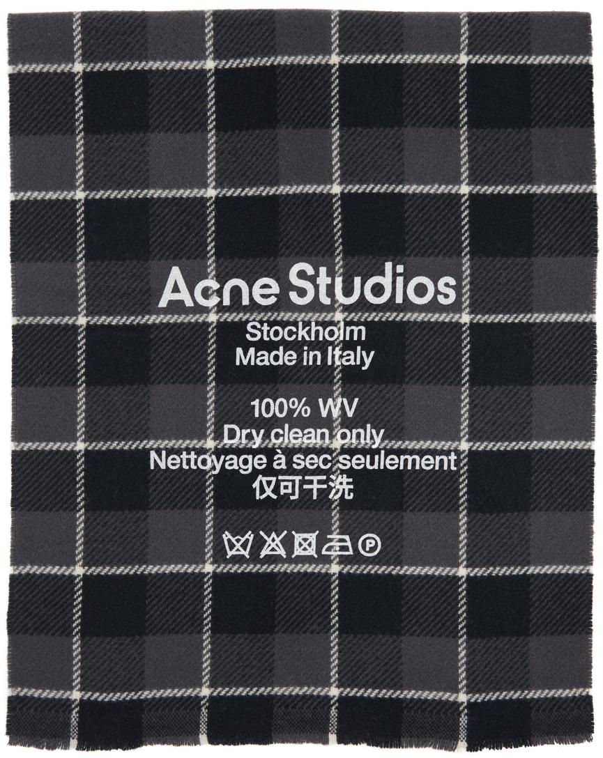 Acne Studios Black Grey Wool Checked Scarf 211129F028036