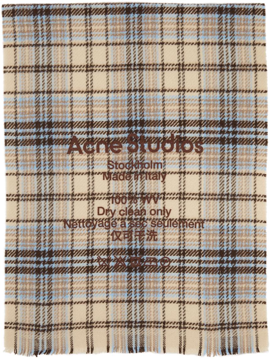 Acne Studios Beige Brown Wool Tartan Check Scarf 211129F028037