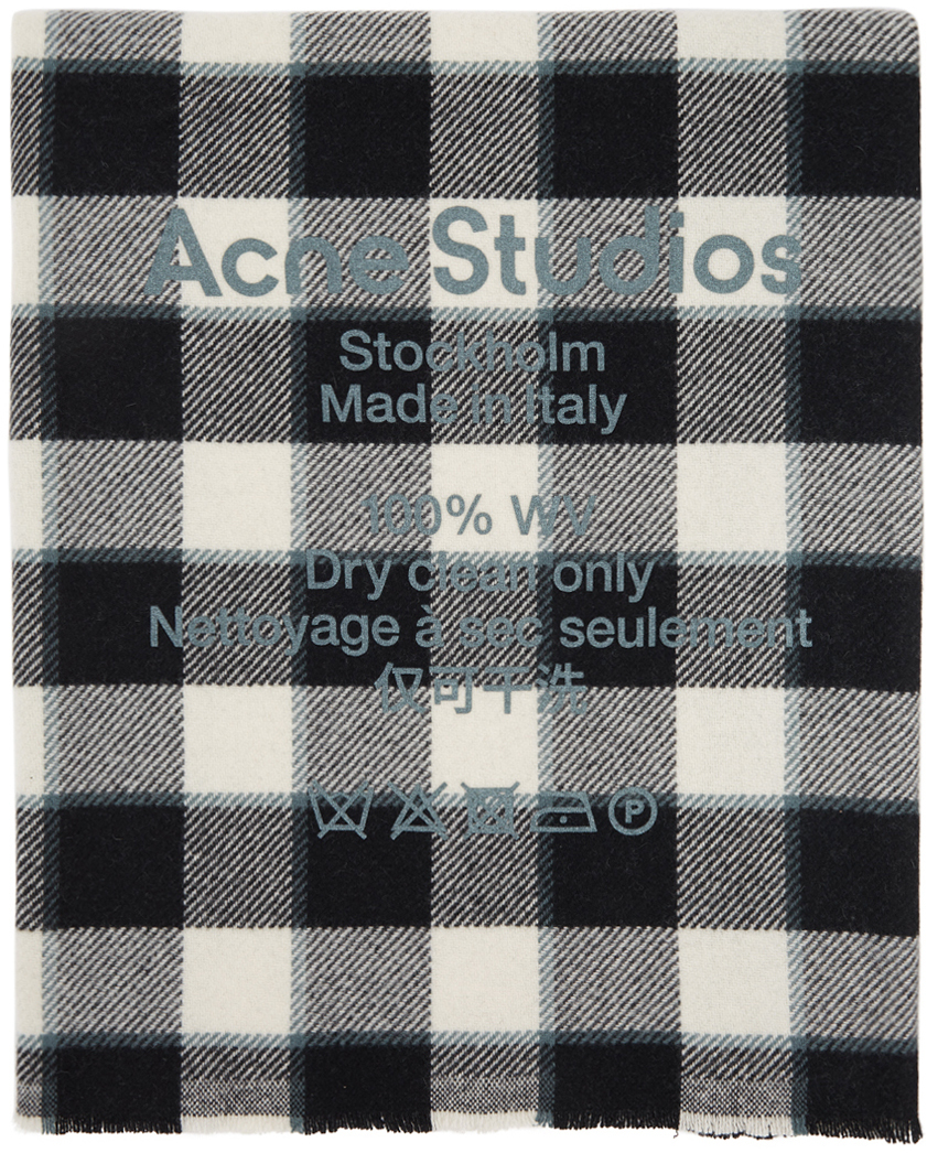 Acne Studios Grey Black Wool Oversized Scarf 211129F028038