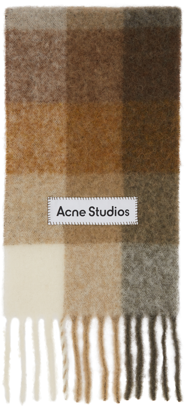 Acne Studios Beige Brown Large Check Scarf 211129F028044