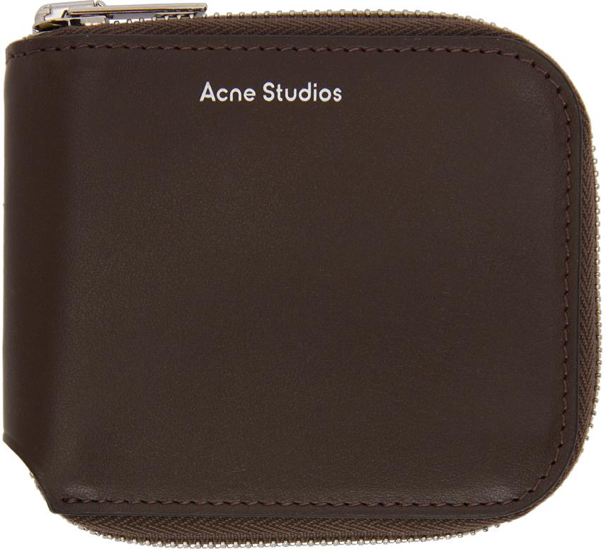Acne Studios Brown Compact Zip Wallet 211129F040110