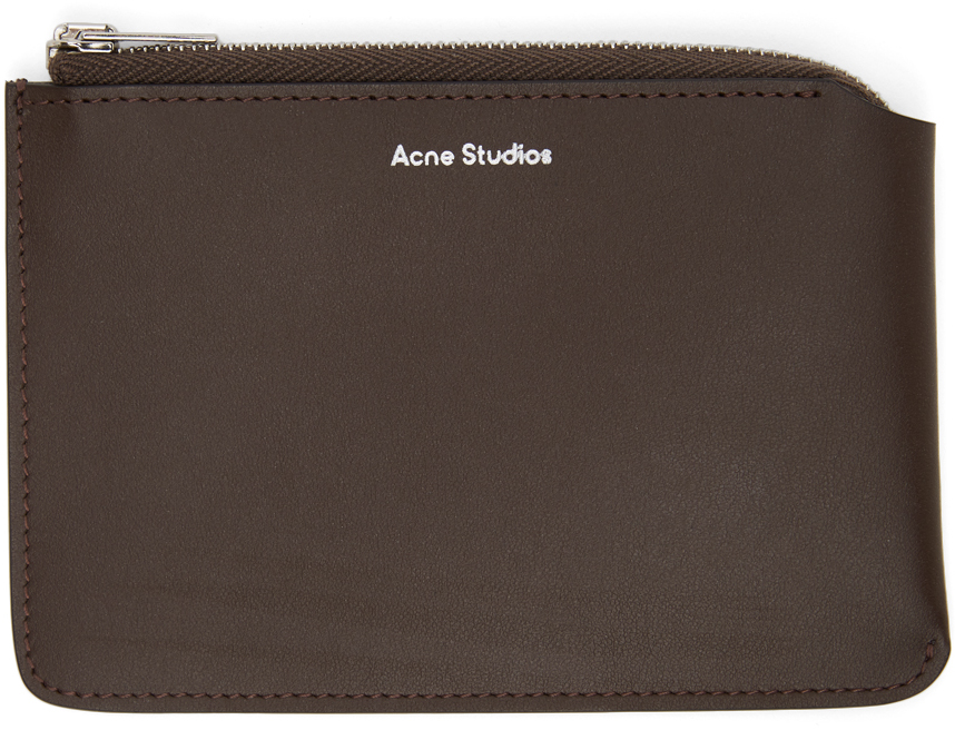 Acne Studios Brown Logo Pouch 211129F045114