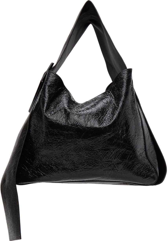 Acne Studios Black Patent Bucket Bag 211129F048005
