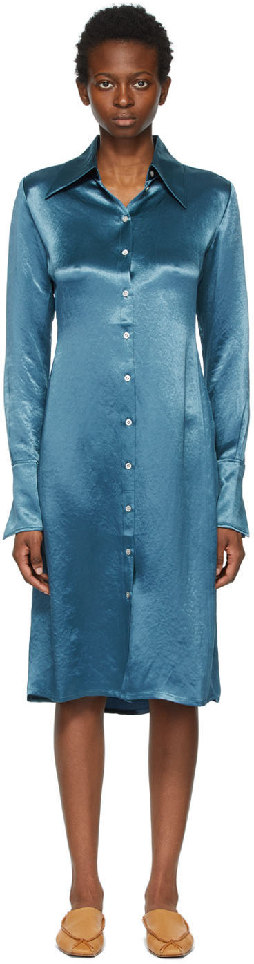 Acne Studios Blue Satin Long Sleeve Dress 211129F054216