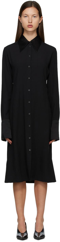 Acne Studios Black Crêpe Long Sleeve Dress 211129F054218