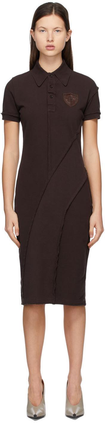 Acne Studios Brown Piqué Polo Dress 211129F054219