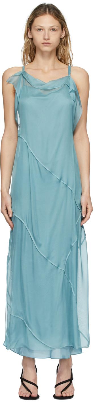 Acne Studios Blue Chiffon Dress 211129F055000