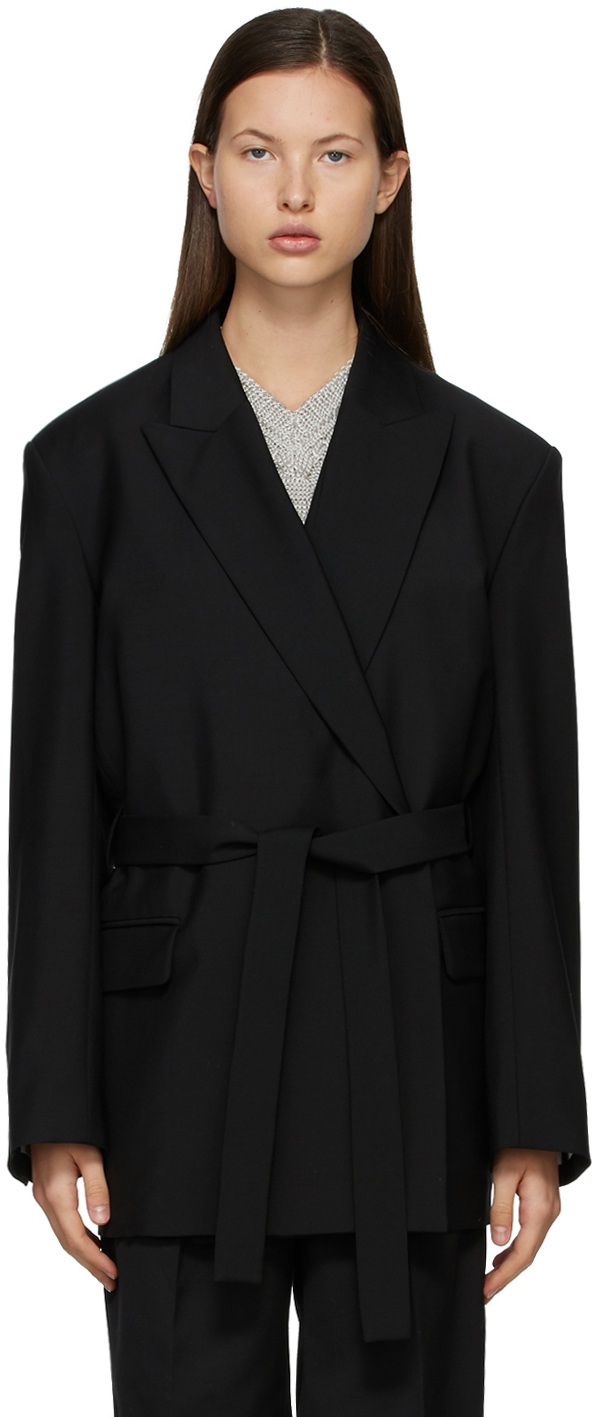 Acne Studios Black Double Breasted Belted Blazer 211129F057156
