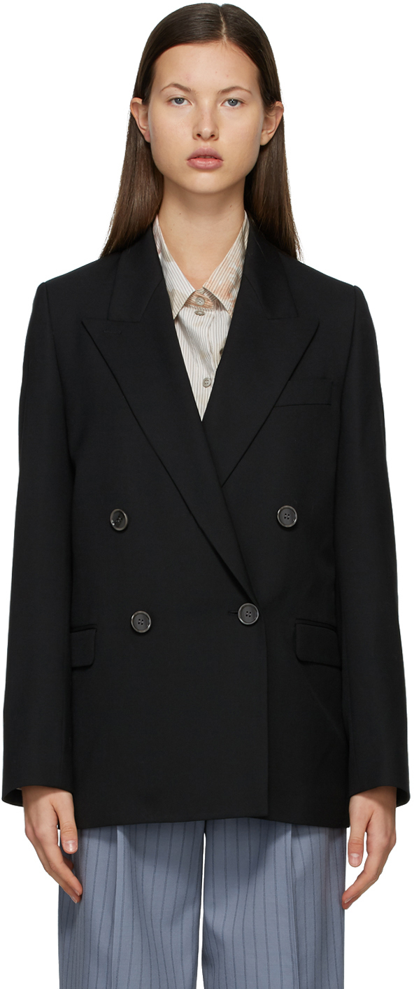 Acne Studios Black Wool Double Breasted Suit Blazer 211129F057158