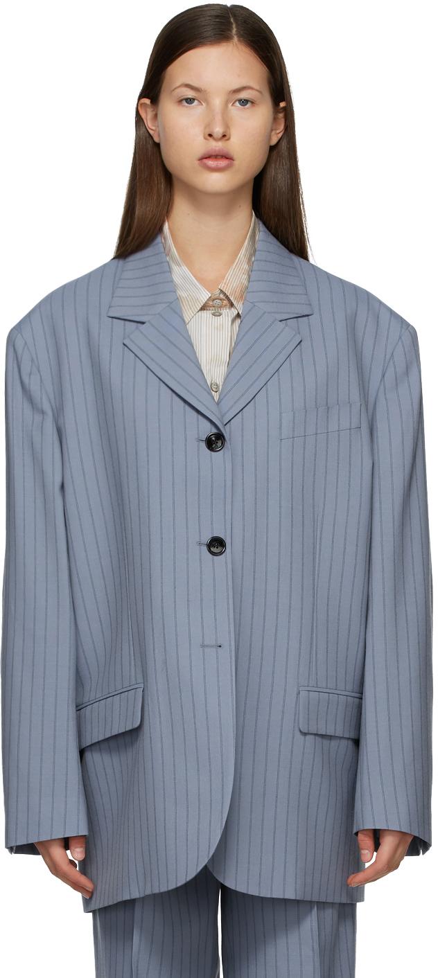 Acne Studios Blue Navy Wool Pinstripe Suit Blazer 211129F057161
