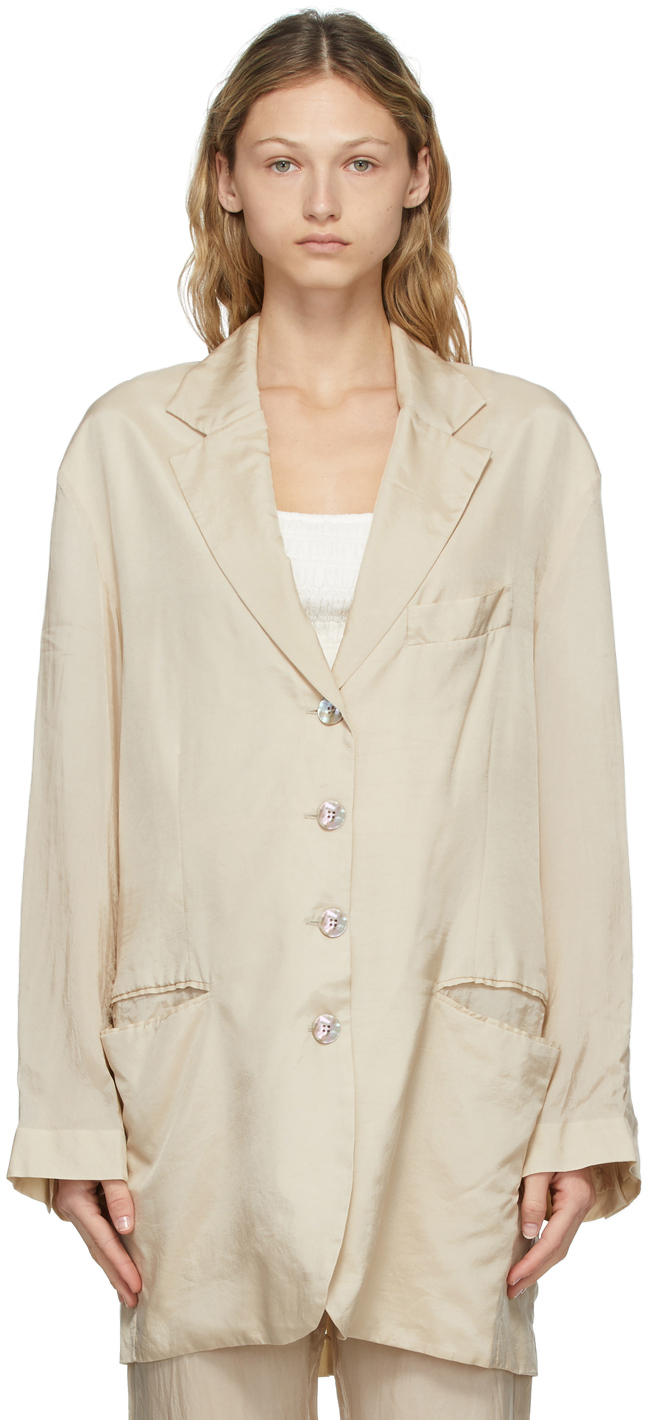 Acne Studios Beige Suit Jacket Blazer 211129F057163