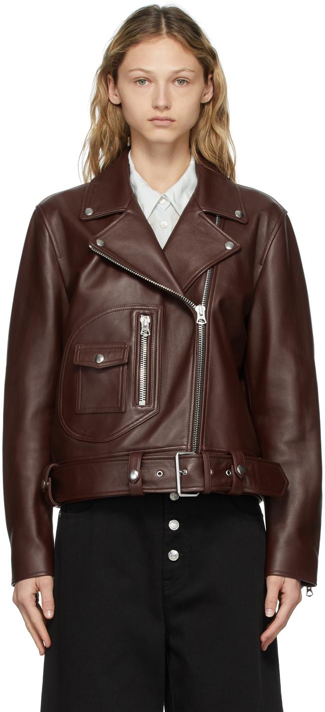 Acne Studios Brown Lambskin Biker Jacket 211129F064151