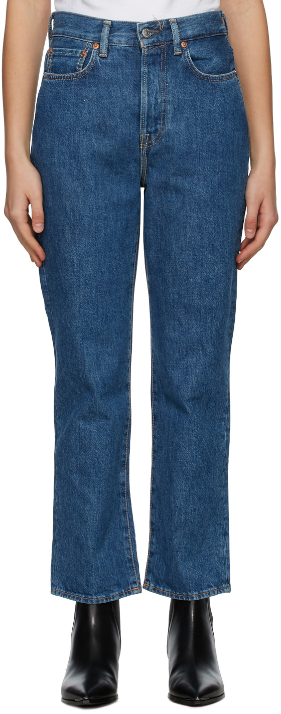 Acne Studios Blue Cropped Straight Fit Jeans 211129F069146