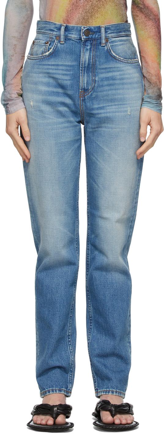 Acne Studios Blue Slim High Rise Jeans 211129F069149