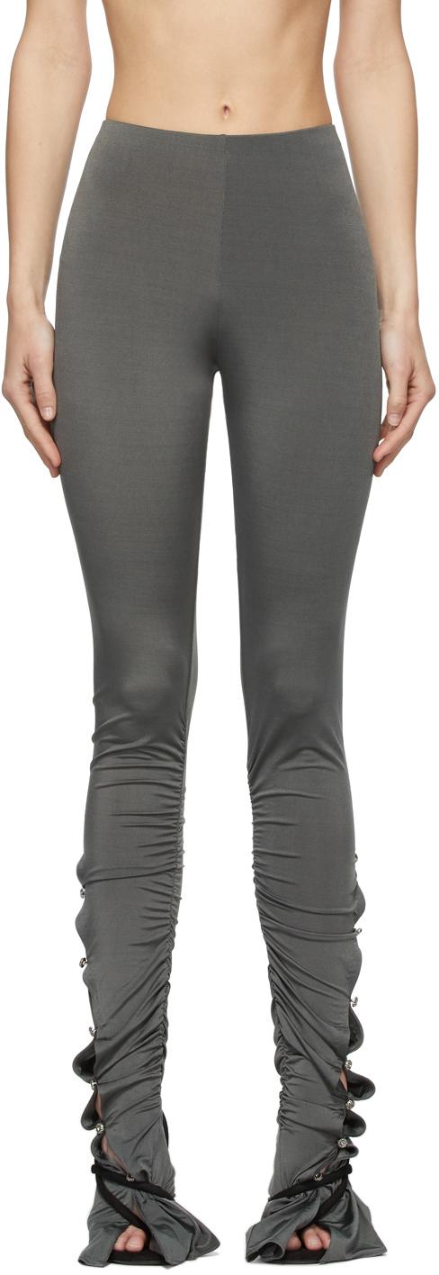 Acne Studios Grey Shirred Leggings 211129F085077
