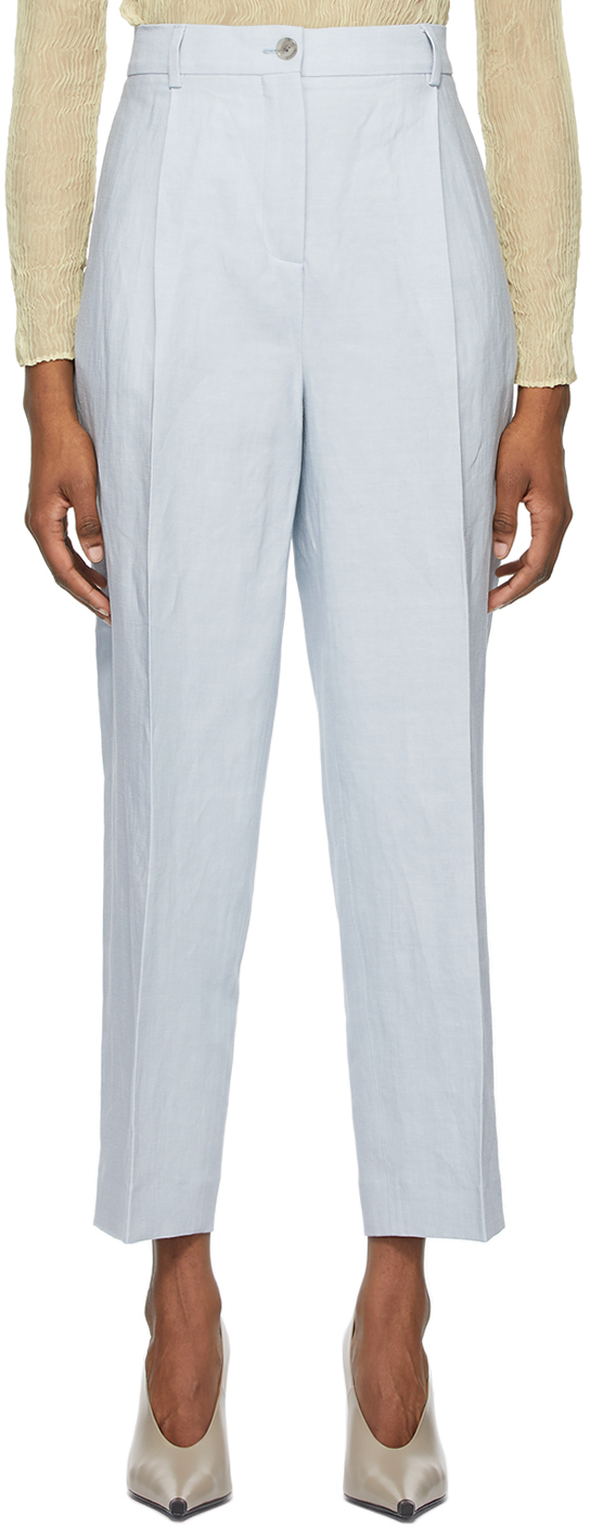 Acne Studios Blue Linen Pleated Trousers 211129F087076