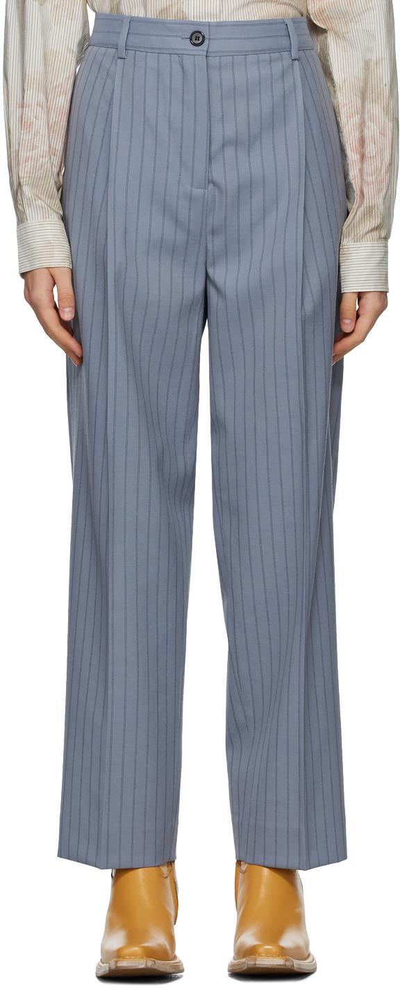 Acne Studios Blue Wool Pleated Trousers 211129F087077