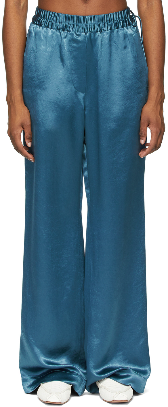 Acne Studios Blue Satin Fluid Trousers 211129F087078