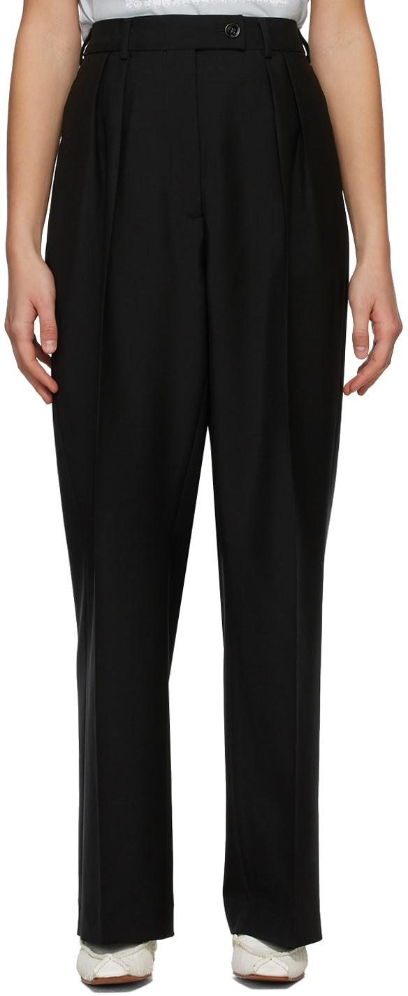 Acne Studios Black Wool Wide Leg Trousers 211129F087081