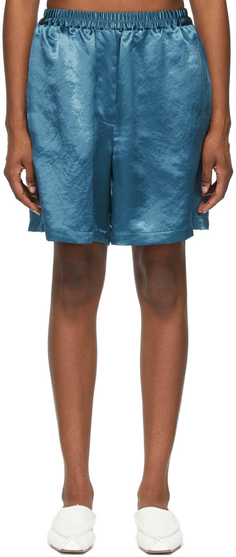Acne Studios Blue Satin Shorts 211129F088078